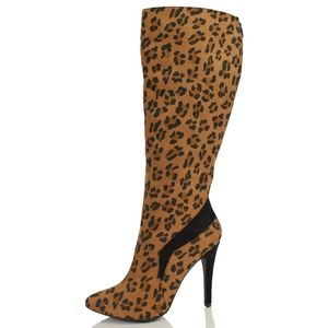 Shoes - SIZE 7.5 Tan Leopard Pointy Toe Knee High Boot